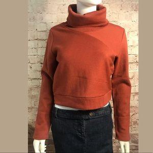 Alo Yoga Cropped Turtleneck Sweatshirt Med Orange